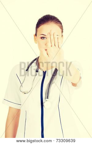 Doctor give you reject gesture.