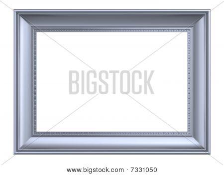 Silver rectangular frame isolated on white background