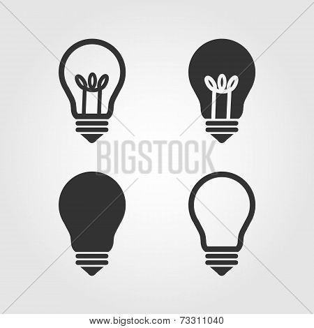 Light bulb icons set, flat design