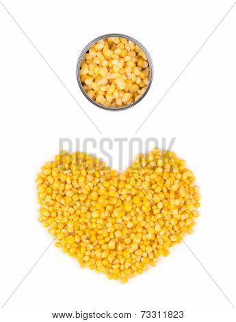 Heart shape of canned corn.