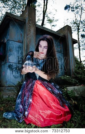 Vampire Gilr Portrait With Icon Lamp