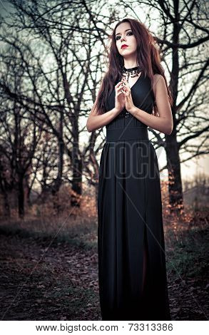 Beautiful Goth Girl Amongst The Trees