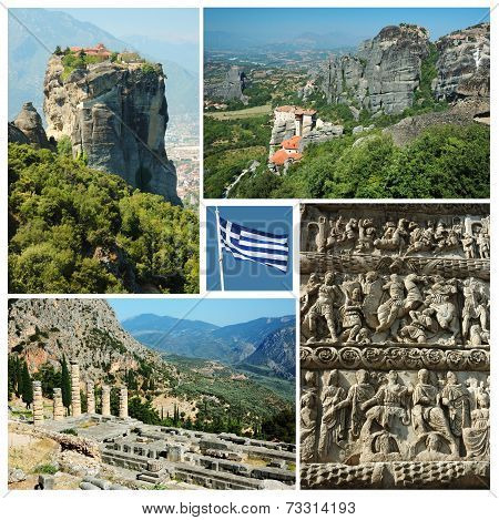 Collage Of Famous Greek Landmarks - Ancient Delphi Town, Meteora Mountain Monastery,Thessalonike