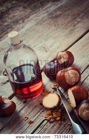Chestnuts And Bottle With Healthy Tincture