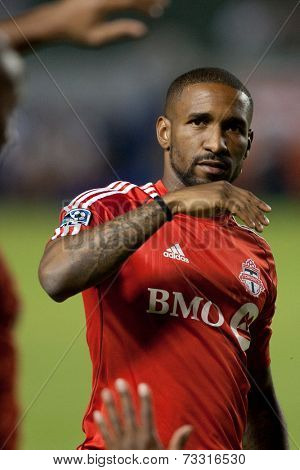 CARSON, CA - OCT 4: Toronto FC forward Jermain Defoe during the Los Angeles Galaxy MLS game against Toronto FC on Oct 4th, 2014 at the StubHub Center.