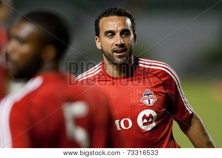 CARSON, CA - OCT 4: Toronto FC midfielder Dwayne De Rosario during the Los Angeles Galaxy MLS game against Toronto FC on Oct 4th, 2014 at the StubHub Center.