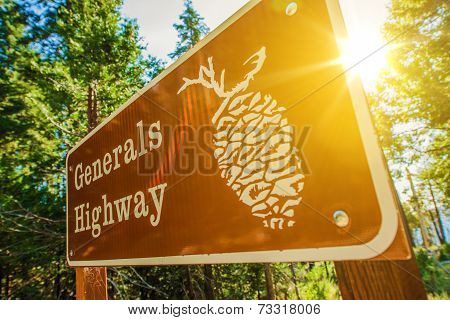 Generals Highway Sign