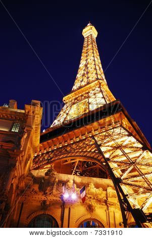 Eiffel Tower Of Paris Hotel In Las Vegas At Night