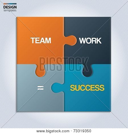 Illustration of piece of  puzzle showing business equation.