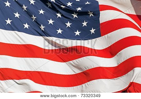 Waving Real American Flag