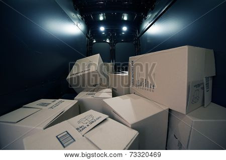 Cardboard Boxes In The Van