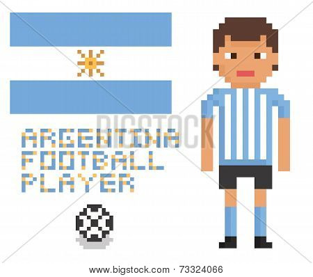 pixel art soccer or football argentina player, flag and ball