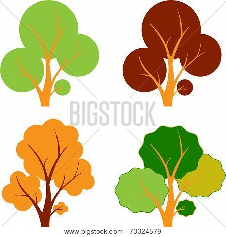 Multicolor Fall Tree, Isolated Tree Vectors