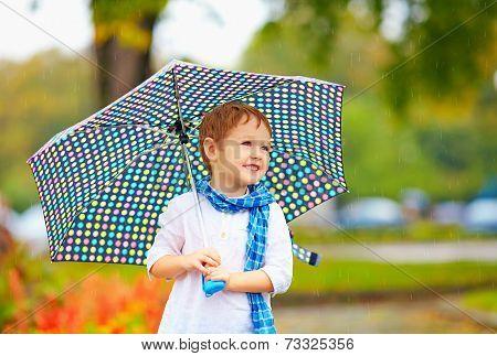 Cute Kid Boy With Umbrella In Autumn Park