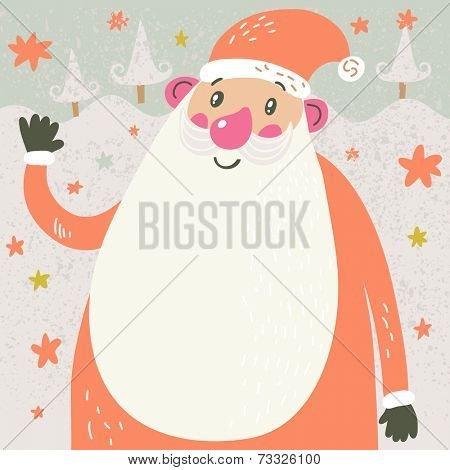 Christmas cartoon card with Santa. Funny Santa Claus under the snowfall in cute childish style