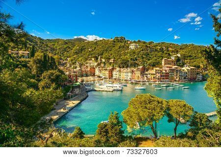 Portofino Luxury Village Landmark, Panoramic Aerial View. Liguria, Italy