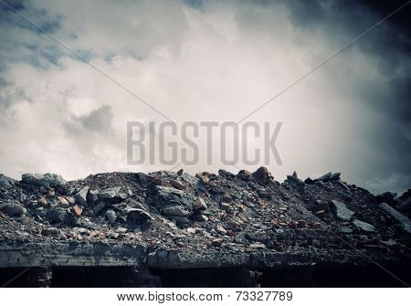 Conceptual image of construction ruins and garbage
