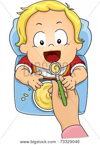 Illustration Featuring a Baby Boy Being Fed with Instant Cereal