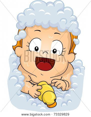 Illustration Featuring a Female Baby Playing With a Rubber Duckie While Soaking in a Bubble Bath