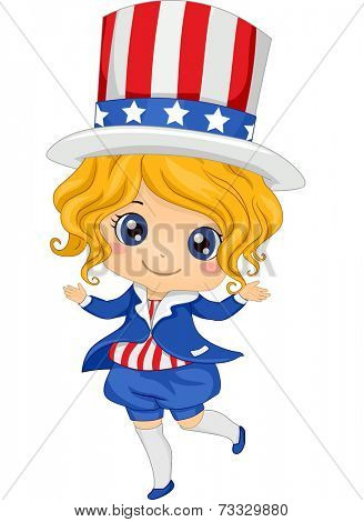 Illustration Featuring a Girl Wearing a Fourth of July Inspired Costume