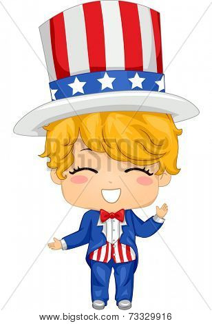 Illustration Featuring a Boy Wearing a Fourth of July Inspired Costume