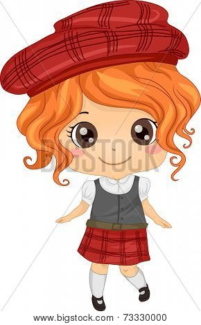 Illustration Featuring a Girl Wearing a Scottish Costume
