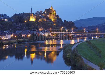 Saarburg - Evangelic Church And Castle Saarburg In The Evening