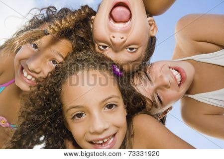 Multi-ethnic girls making faces