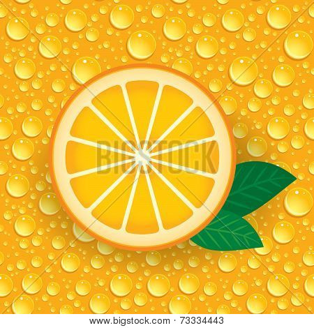 Orange With Green Leaves On A Background Of Orange Drops. Vector.
