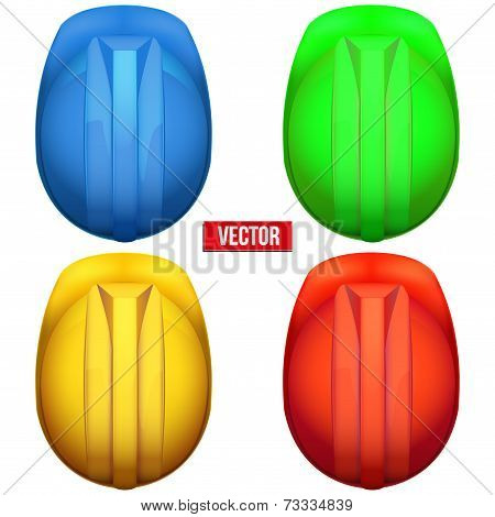 Classic miners helmets. Top view. Vector illustration on a white background
