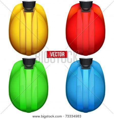 Classic miners helmets with lamp. Top view. Vector illustration on a white background