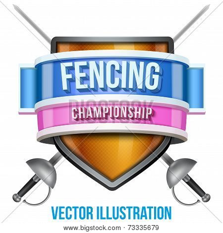 Label for fencing sport competition. Bright premium design. Vector Illustration.