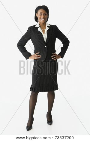 African businesswoman with hands on hips