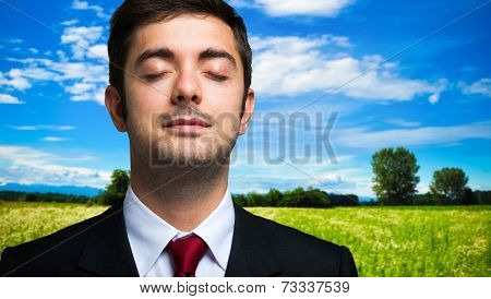 Ecology concept, portrait of a businessman relaxing in the country