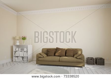 Living room with a brown couch in front of a stucco wall