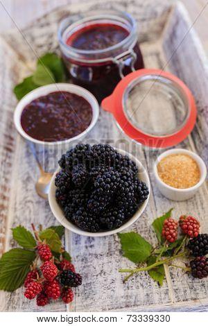 Blackberry jam - freshly homemade blackberry jam