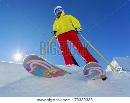 Ski, Skier, Freeride in fresh powder snow - woman skiing