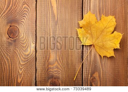 Yellow maple leaf on woden background with copy space