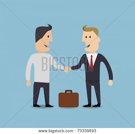 Businessman handshake make a deal vector illustration