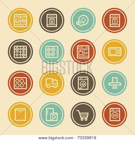 Kitchen Appliances Web Icons, Color Circle Buttons