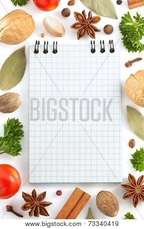 herbs and spices isolated on white background