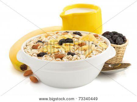 bowl of cereals muesli isolated on white background