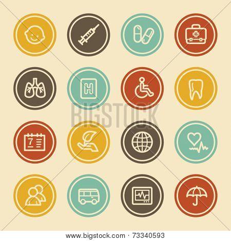 Medicine Web Icon set 1, Color Circle Buttons
