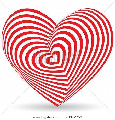 Red Heart On A White Background. Optical Illusion Of 3D Three-dimensional