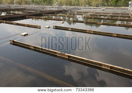 Wastewater treatment plant aerating basin