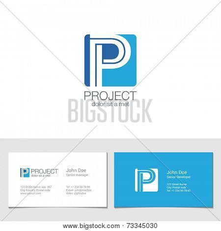 Corporate Logo P Letter company vector design template. Logotype with identity business visit card.