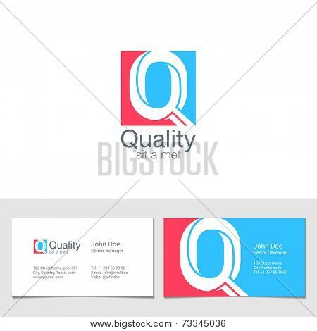 Corporate Logo Q Letter company vector design template. Logotype with identity business visit card.