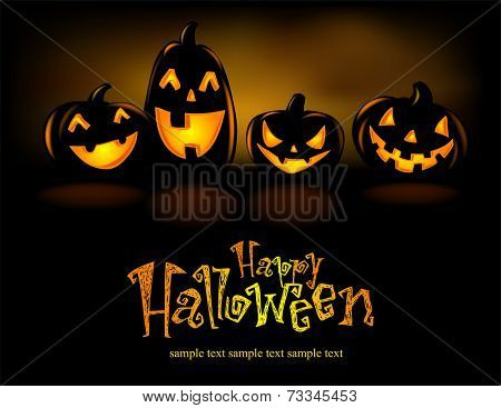 Happy laughing Halloween lanterns, vector illustration.