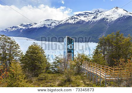 Modern Elevator By Perito Moreno Glacier, Los Glaciares National Park, Argentina.