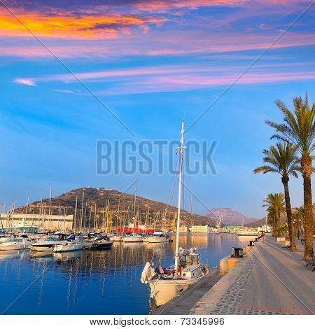 Cartagena Murcia port marina sunrise in Mediterranean Spain